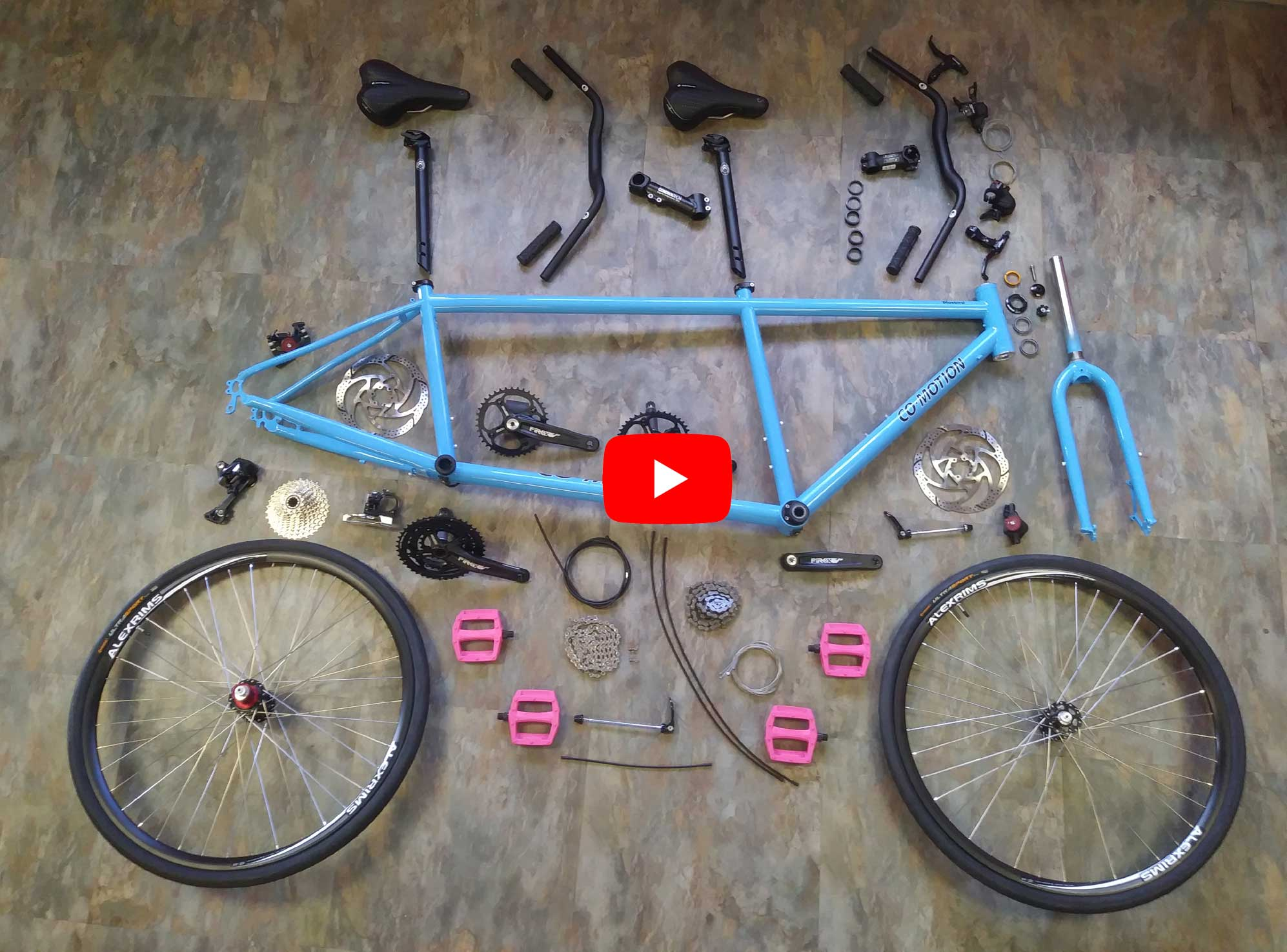 video of Surly Mike building a Co-Motion Cycles Bluebird tandem