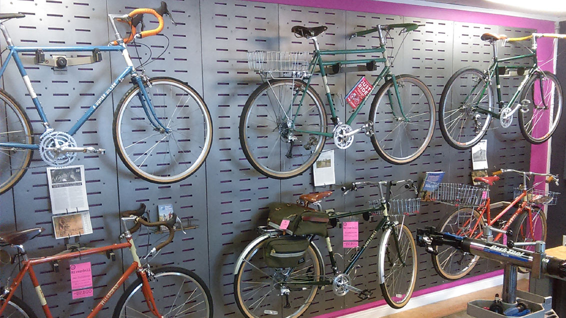 Wall of Rivendell Bicycles at Maine Bike Works